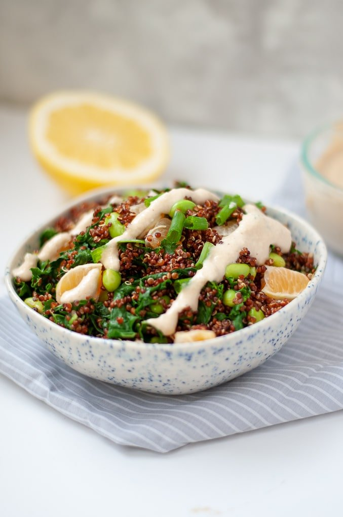 Quinoa Edamame Salad with drizzle of cashew miso dressing