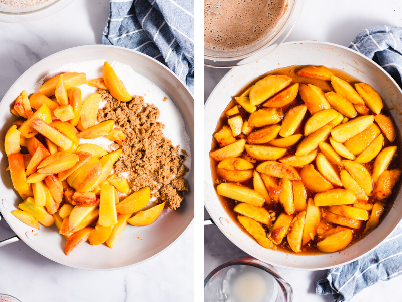 Skillet showing peaches and sugar before and after melting