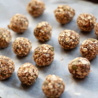 No Bake Trail Mix Energy Balls on a tray