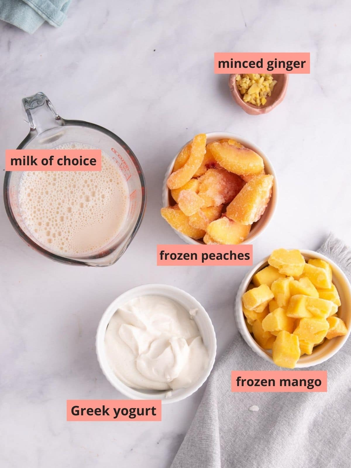 Labeled ingredients used to make peach smoothies
