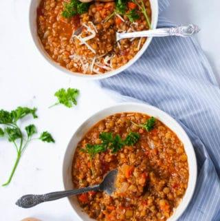 Two bowls of hearty lentil quinoa soup
