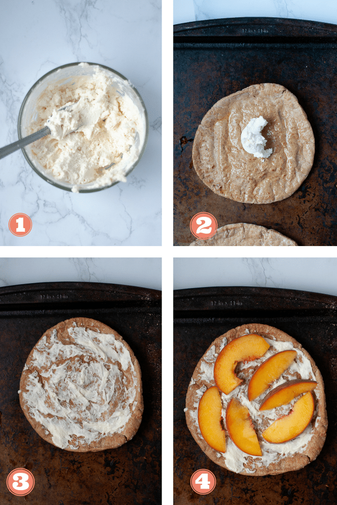 How to make a peach and goat cheese pita pizza in 4 steps