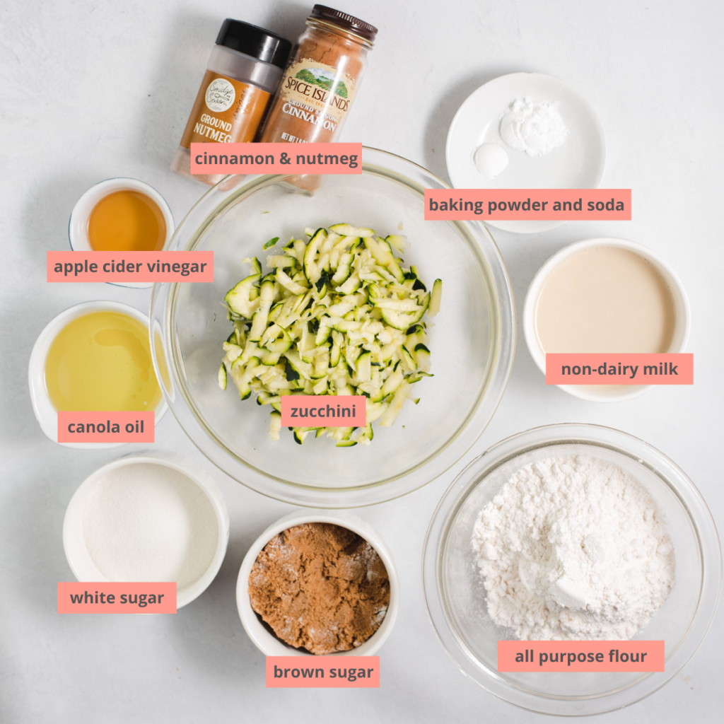 Ingredients to make zucchini bread with labels