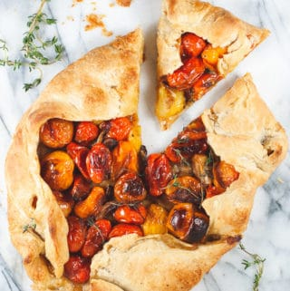 Balsamic Cherry Tomato Galette with Roasted Garlic