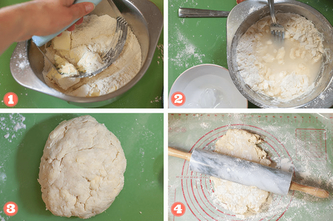 Steps 1 through 4 to make galette dough