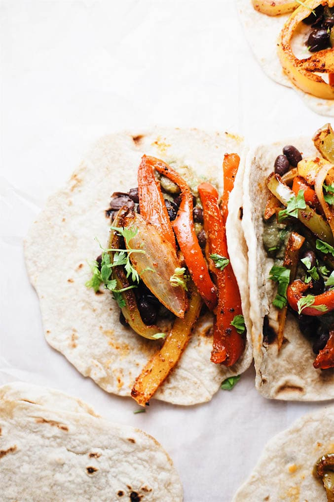 Fajita veggies in tortillas