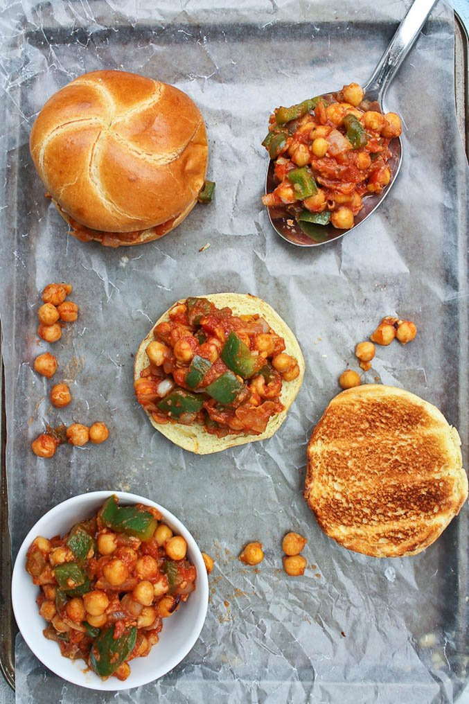 Overhead view of chickpea sloppy joes on parchment paper