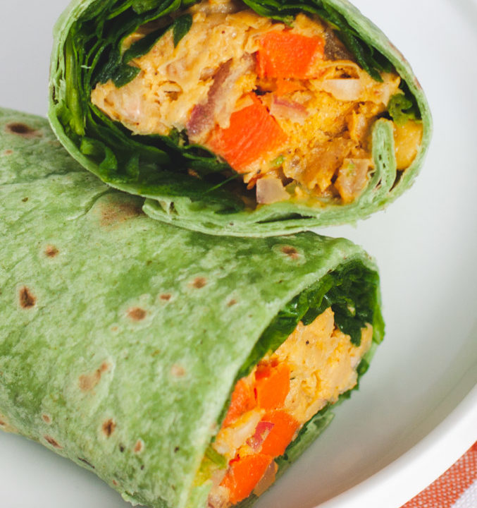 Close up view of curry chickpea wraps