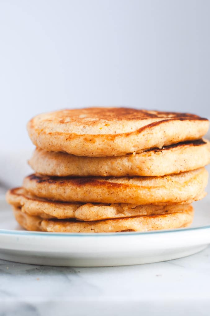 Stack of vegan sweet potato pancakes