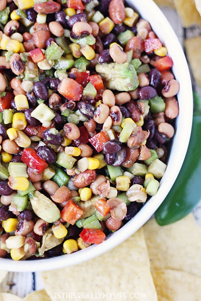 Closeup of bean and vegetable salad