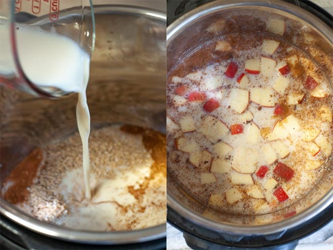 Process shot for apple cinnamon oats. Milk being poured into the dry ingredients in the Instant Pot.