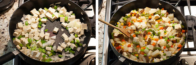 Sauteing tofu, onions, and celery for vegan pot pie