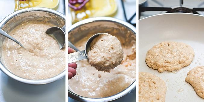 Process shot of how to make vegan sweet potato waffles