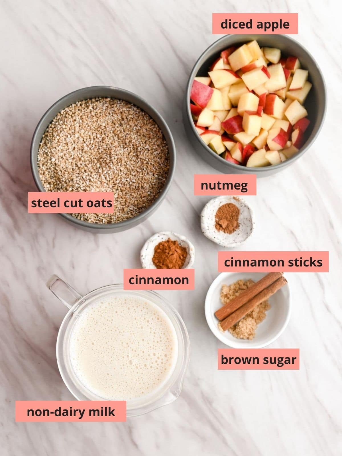 Labeled ingredients used to make steel cut oats