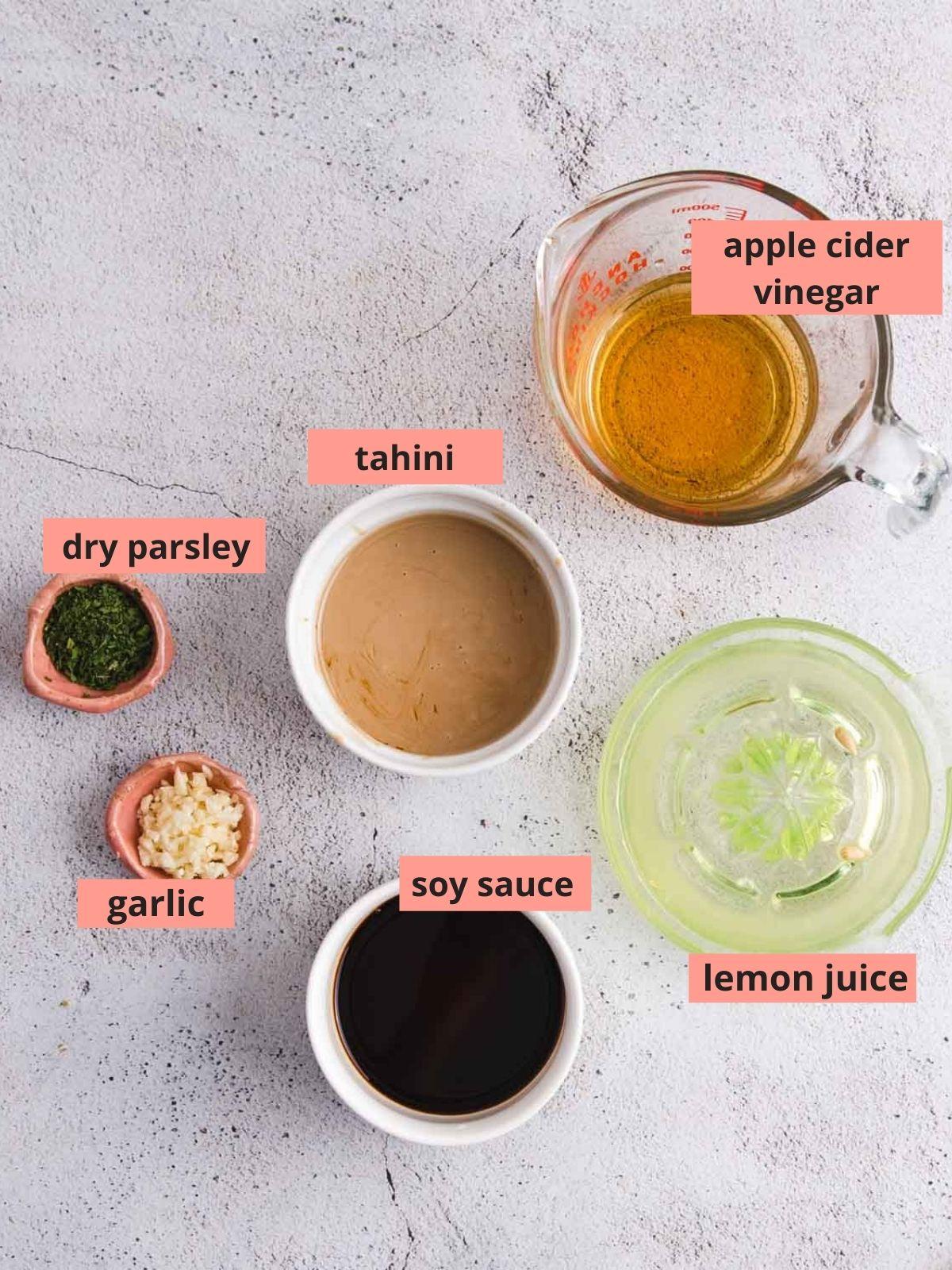 Labeled ingredients used to make tahini dressing