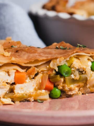 Close up of tofu pot pie