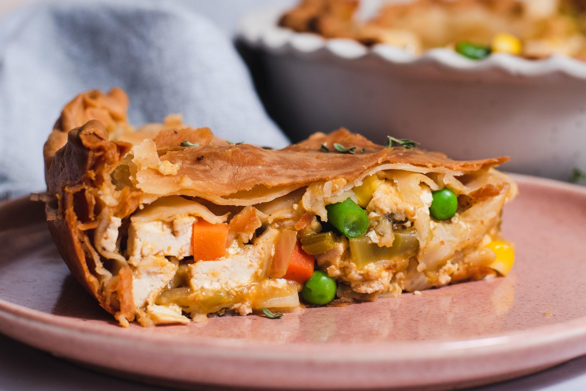 Close up of tofu pot pie