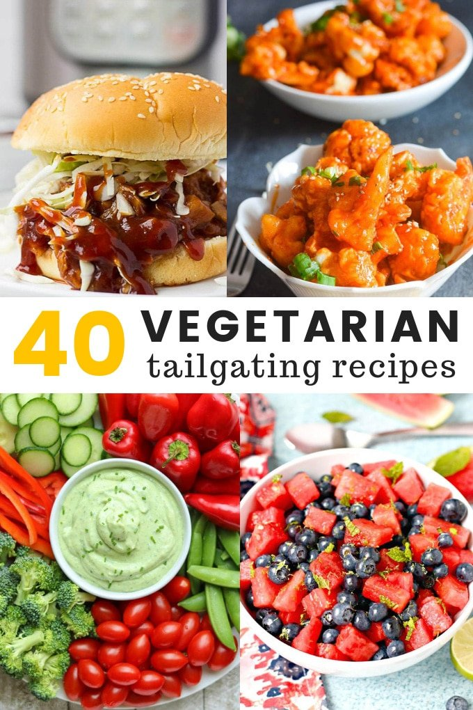 "Collage of tailgating food titled ""40 Vegetarian Tailgating Recipes"""