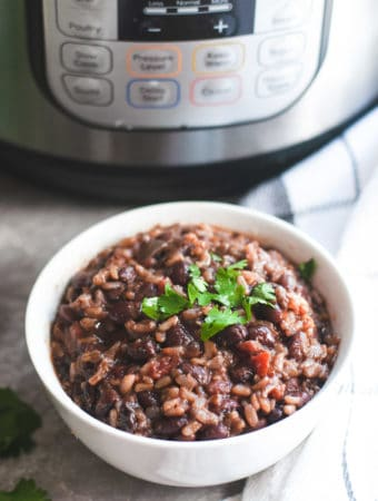 Black beans and brown rice with Instant Pot in the background
