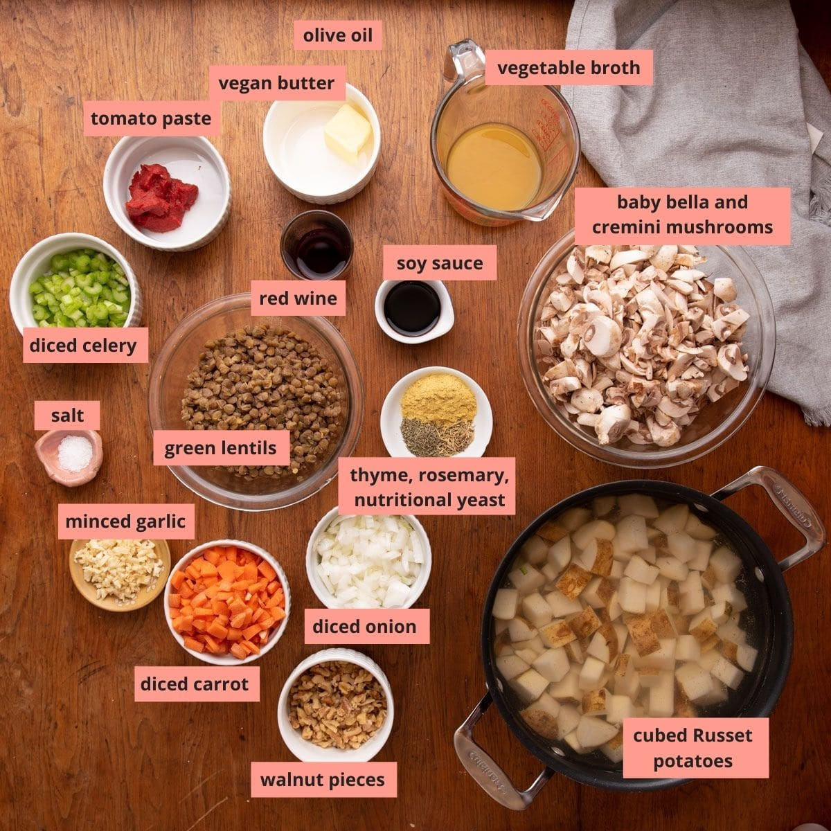 Labeled ingredients used to make shepherd's pie