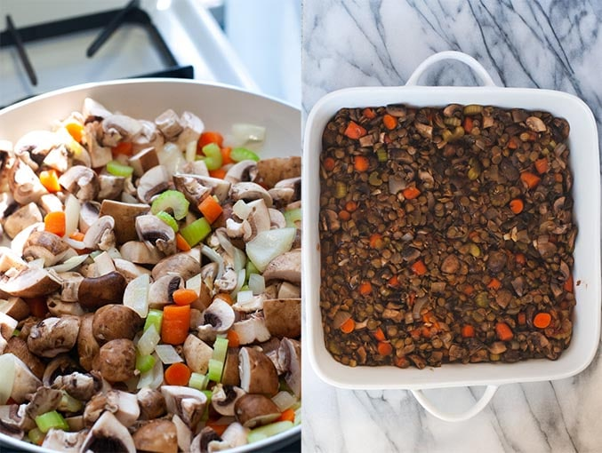 Mushrooms, celery, carrots, onions cooked in a pan (left). Lentil and mushroom filling in dish (right).