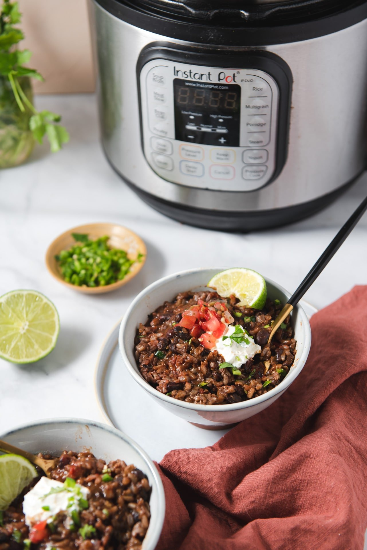 Two bowls of rice and beans with Instant Pot in the background