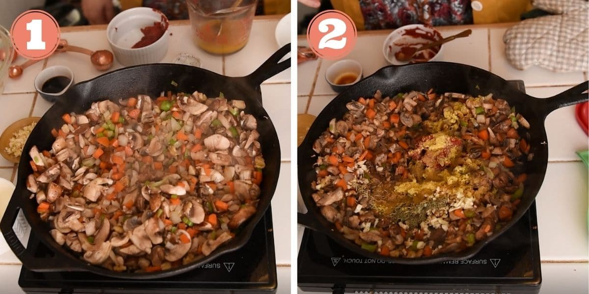 Steps 1 and 2 showing how to make lentil shepherd's pie