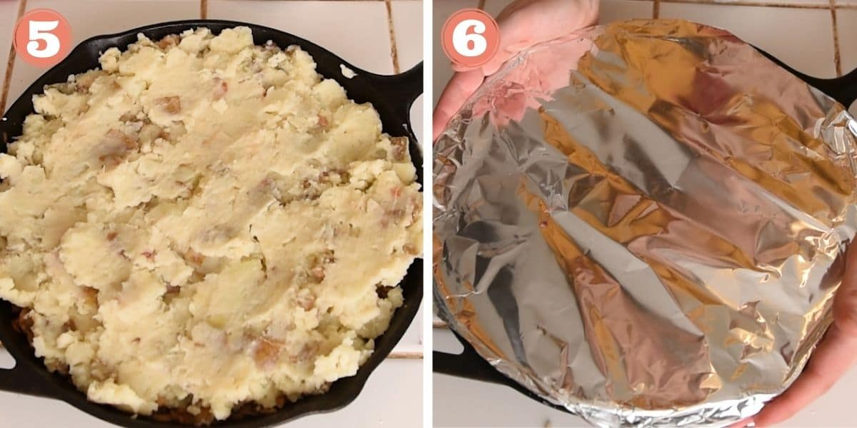 Steps 5 and 6 showing how to make lentil shepherd's pie