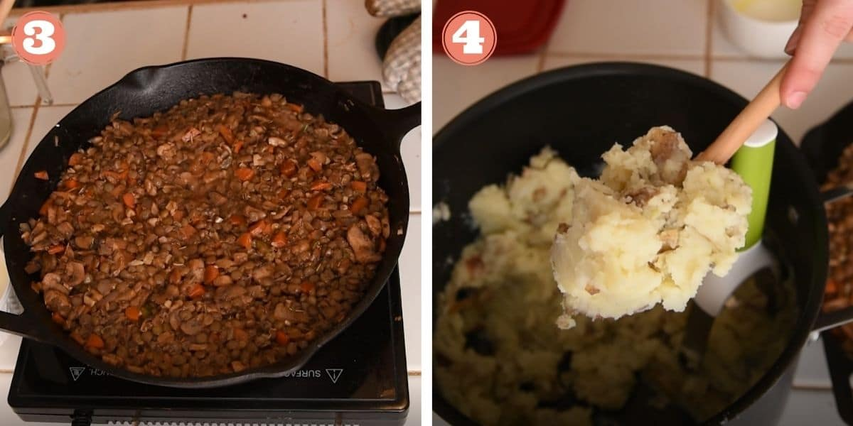 Steps 3 and 4 showing how to make lentil shepherd's pie