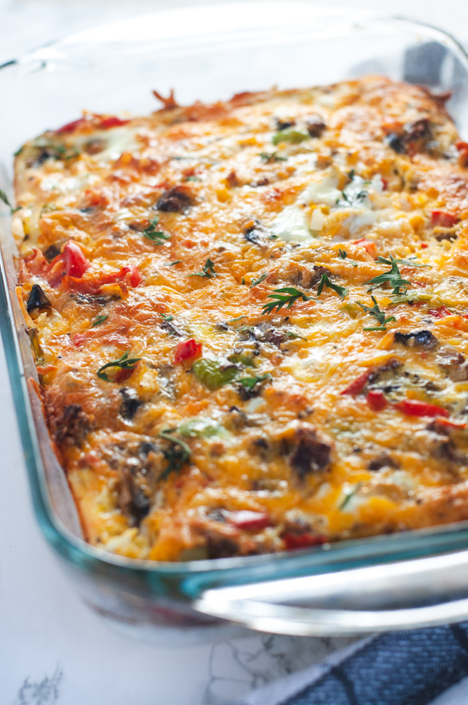 Side view of egg casserole