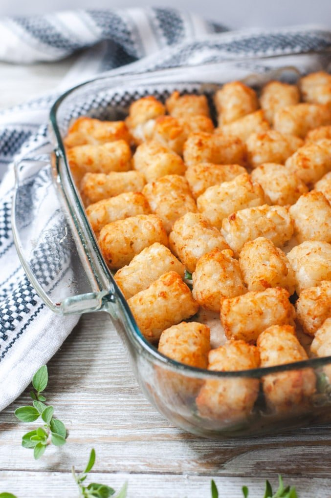Close up of cooked tater tots