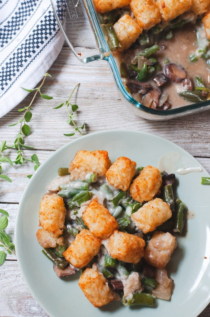 Serving of tater tot casserole on green plate