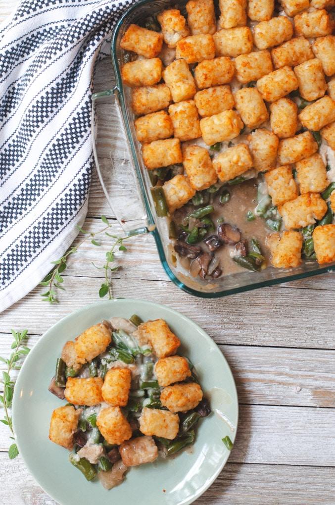 Vegan Tater Tot Green Bean Casserole - Cozy Peach Kitchen