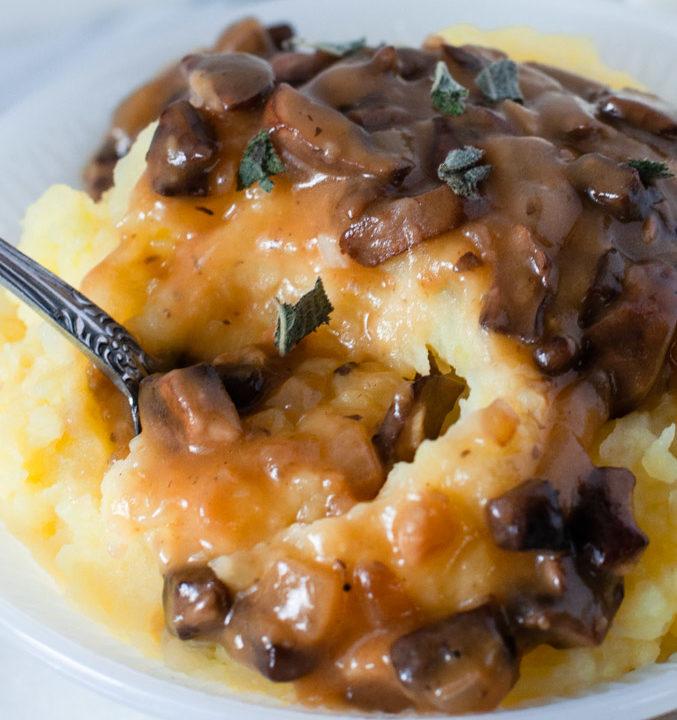 Savory vegan mushroom gravy on mashed potatoes