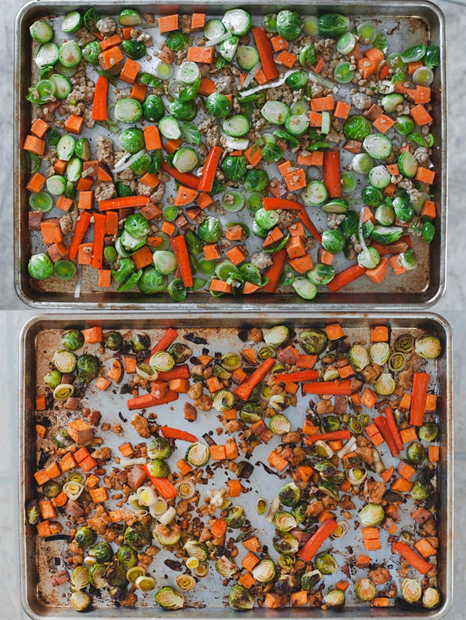 Before and after of roasted fall vegetables