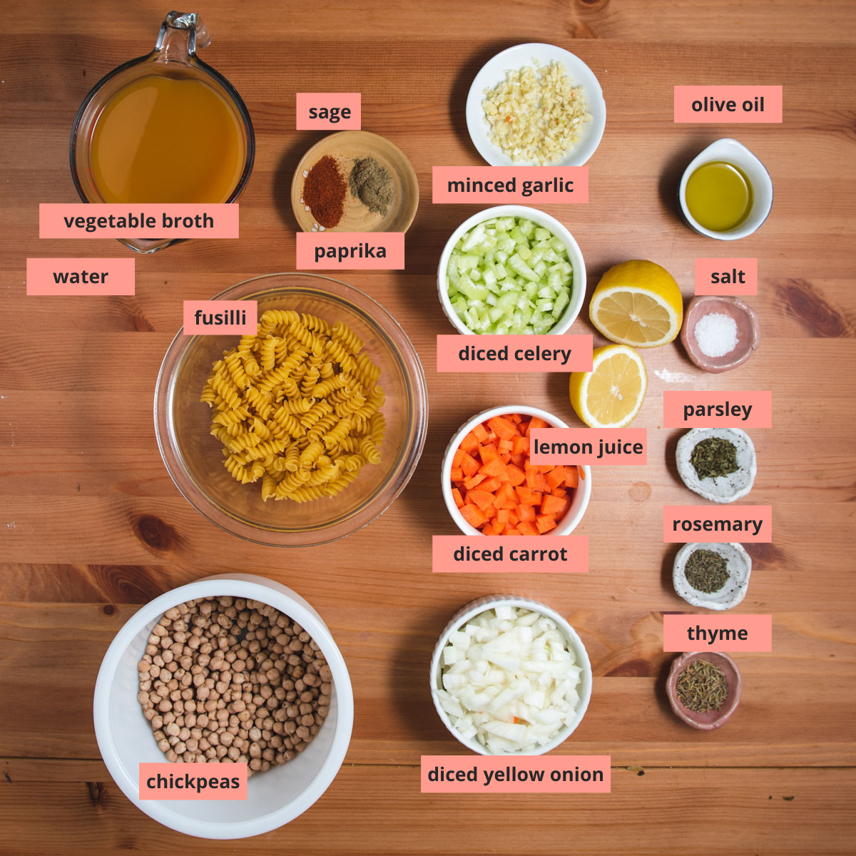 Labeled ingredients used to make chickpea soup