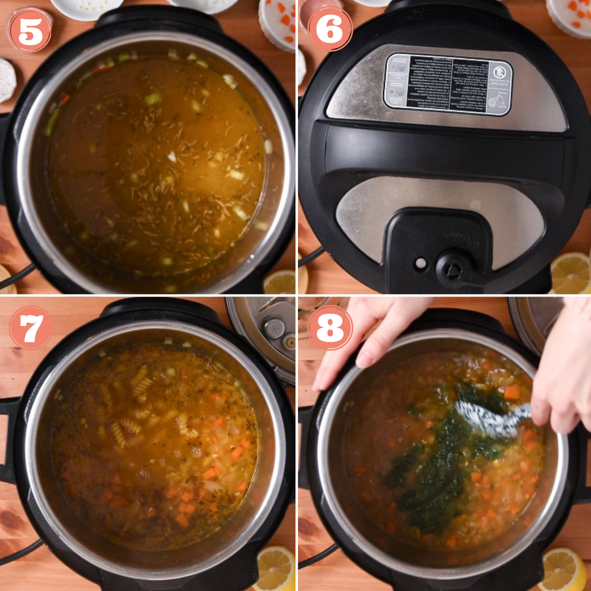 Steps 5 through 8 to make chickpea soup
