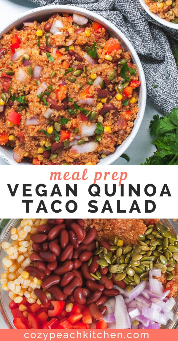 Pin image showing two pictures of quinoa taco salad and title of dish