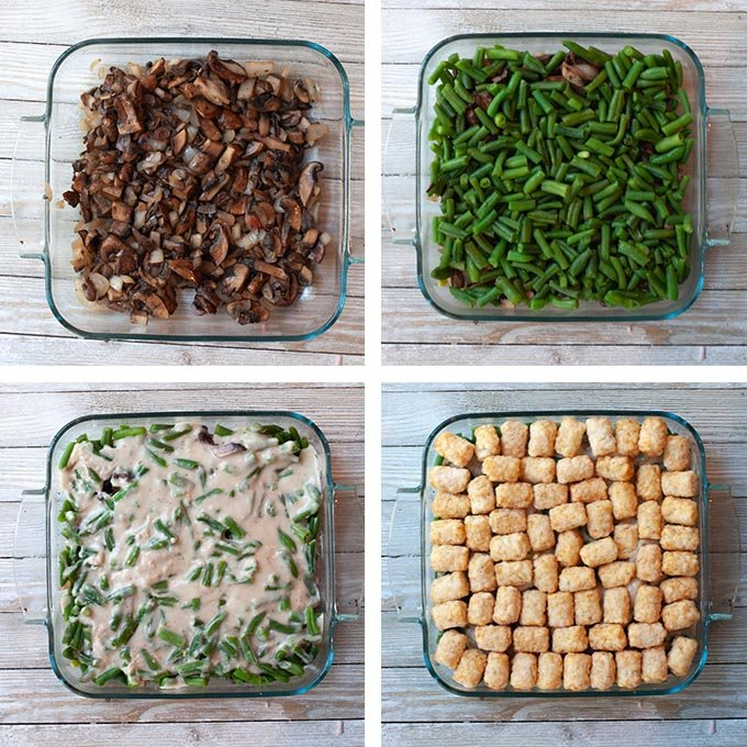 Steps to make each layer for the vegan green bean casserole