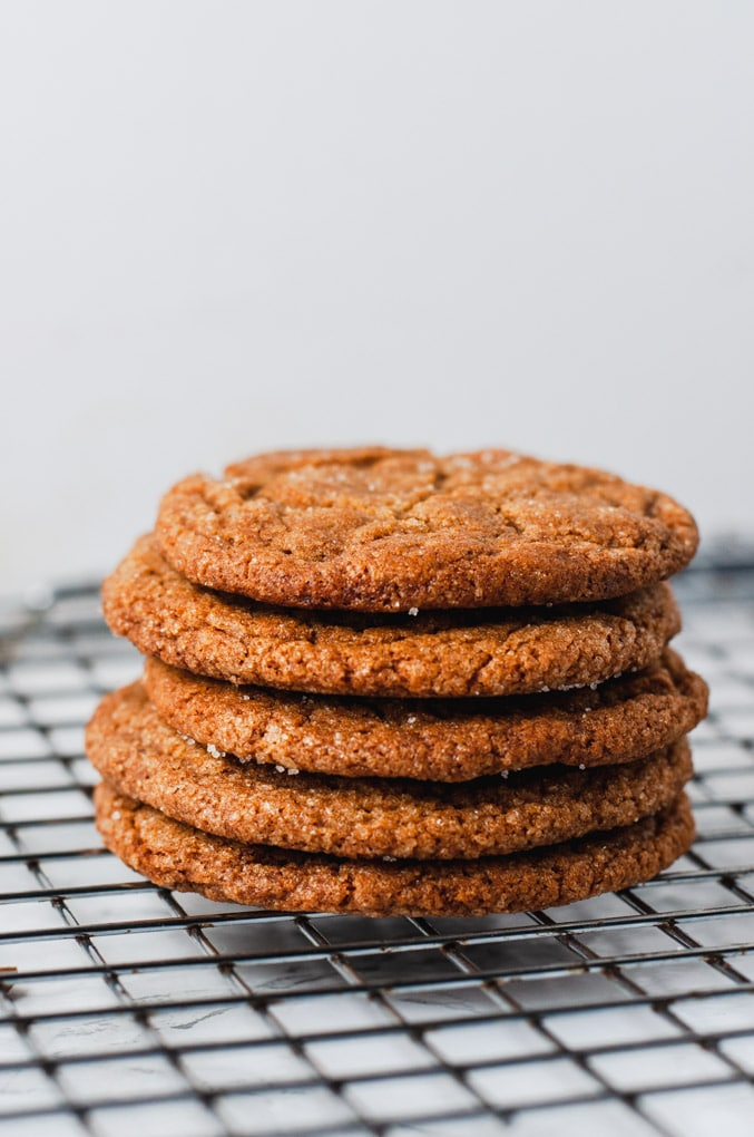 A stack of molasses crinkles cookies