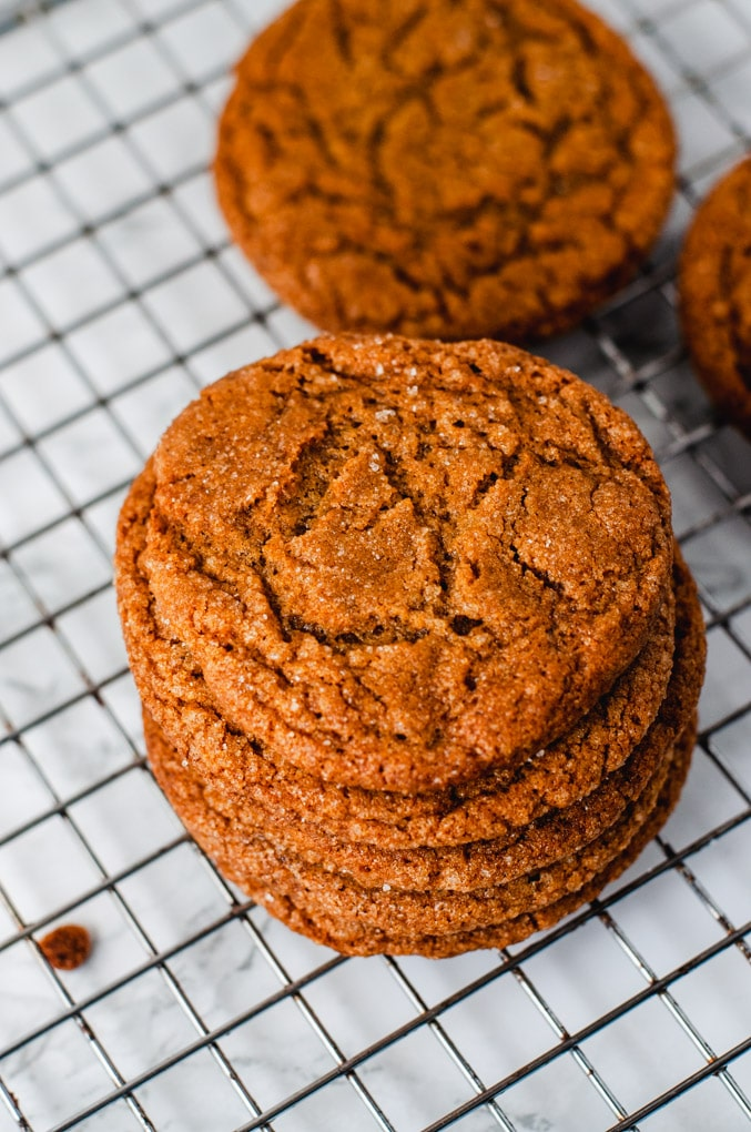 Stack of molasses crinkle cookies