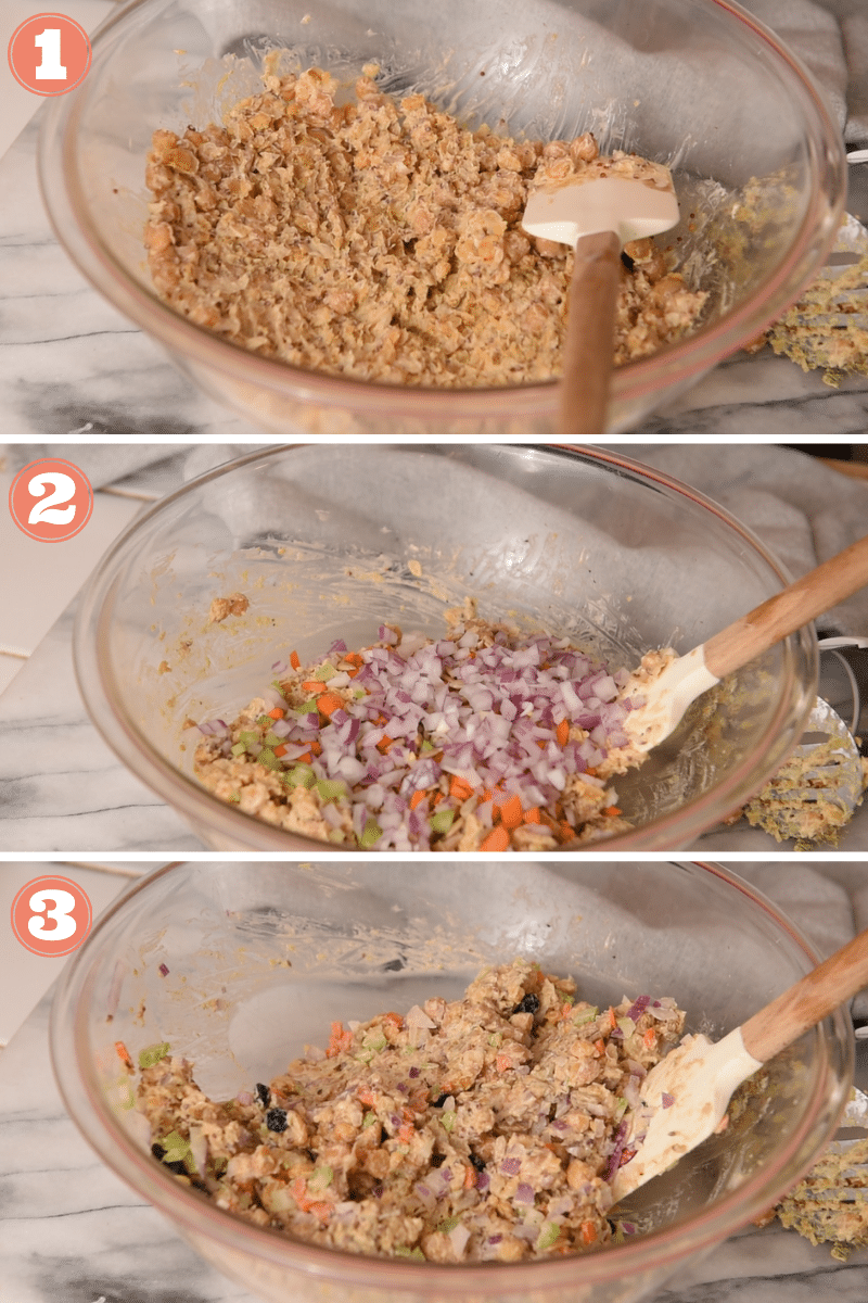 Three images showing steps to make chickpea salad