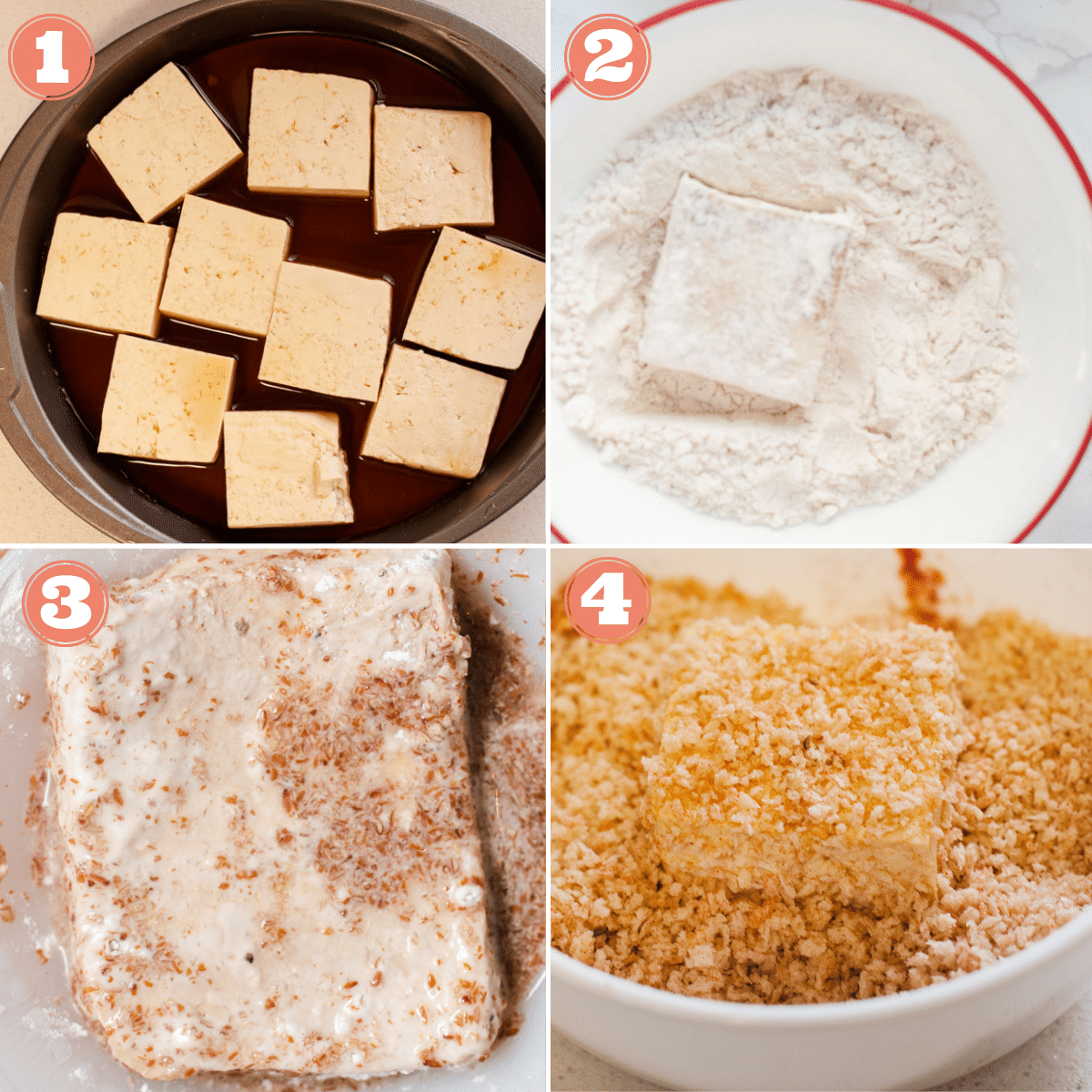Steps 1 through 4 to make tofu nuggets
