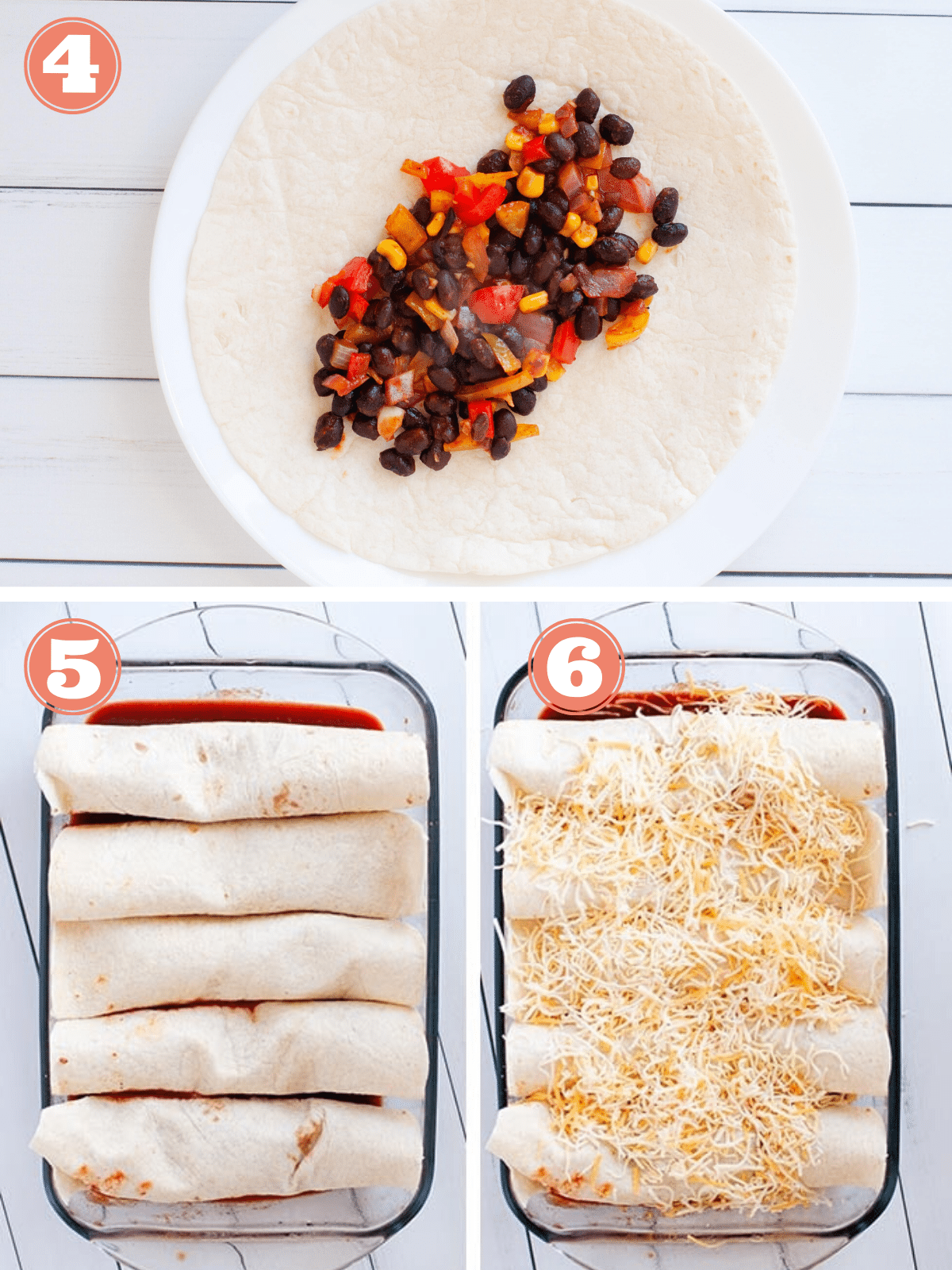 Graphic showing steps 4-6 to make enchiladas
