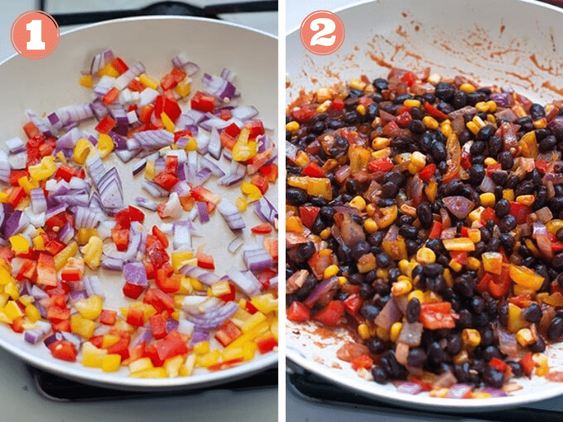 Graphic showing steps 1 and 2 to make enchiladas