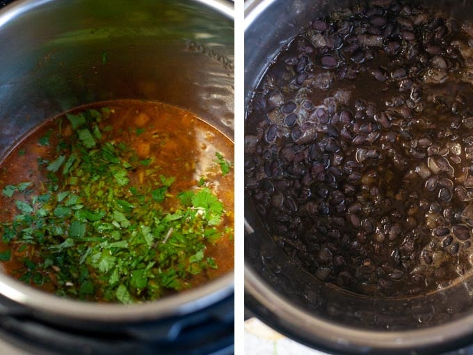 Close up of broth and cilantro in Instant Pot and black beans in Instant Pot
