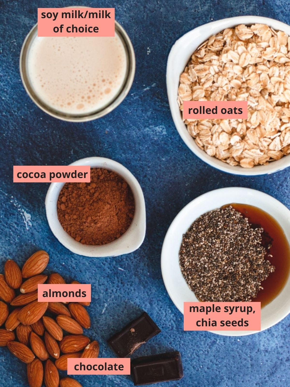 Labeled ingredients used to make mocha overnight oats