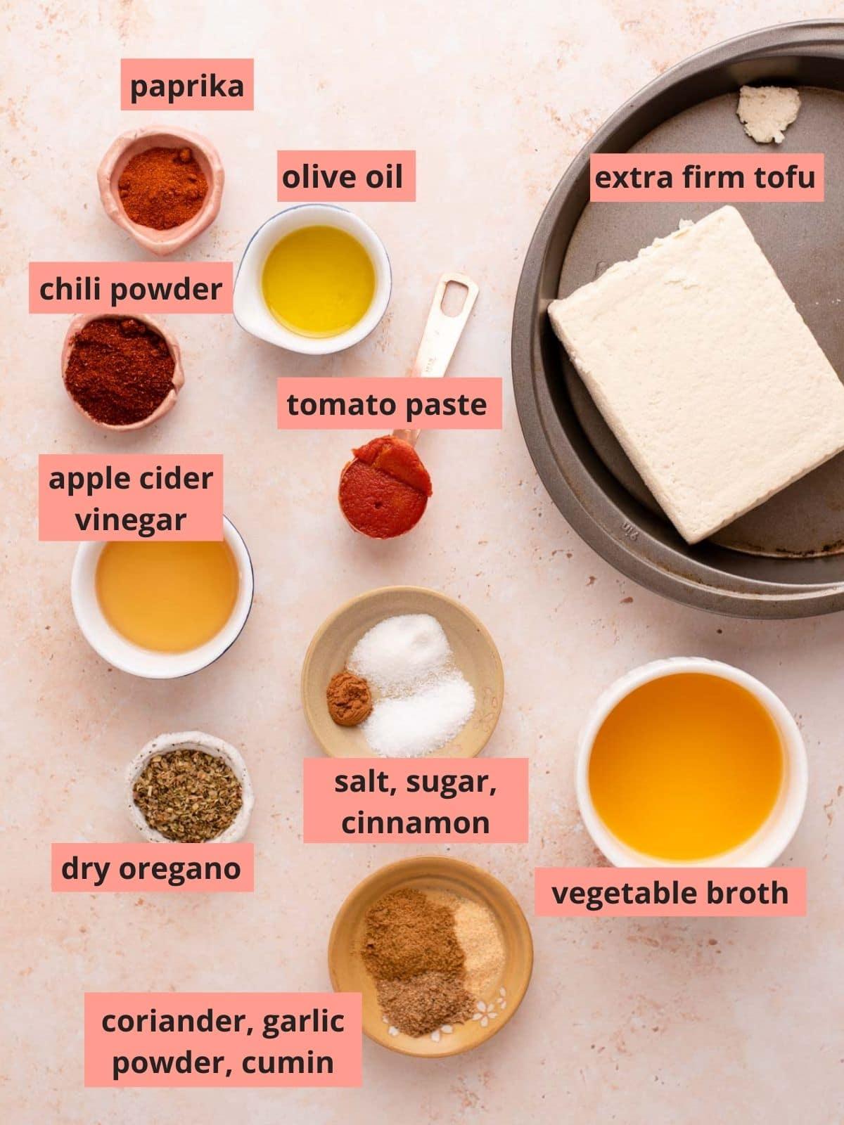 Labeled ingredients used to make tofu chorizo
