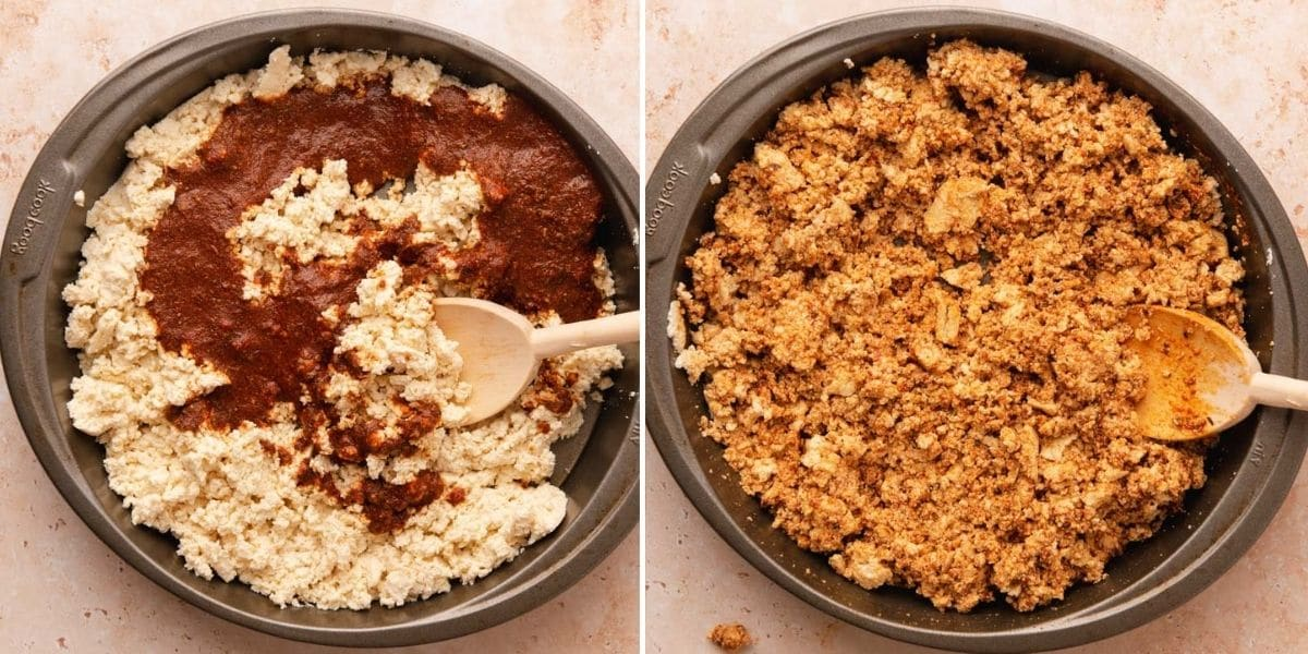 Tofu covered in chorizo marinade before and after stirring together