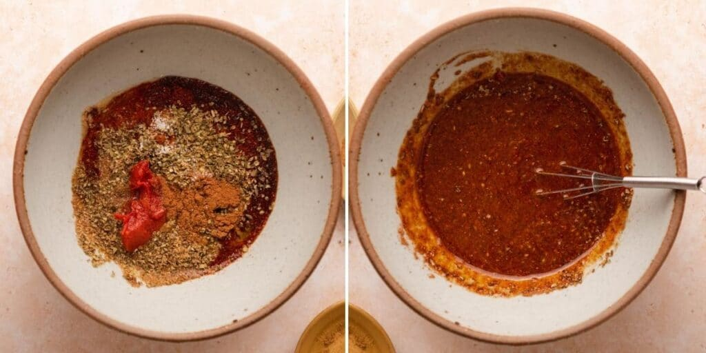 Bowl of chorizo spices before and after mixing together